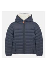 Boys Puffer with Fur - Ebony Grey