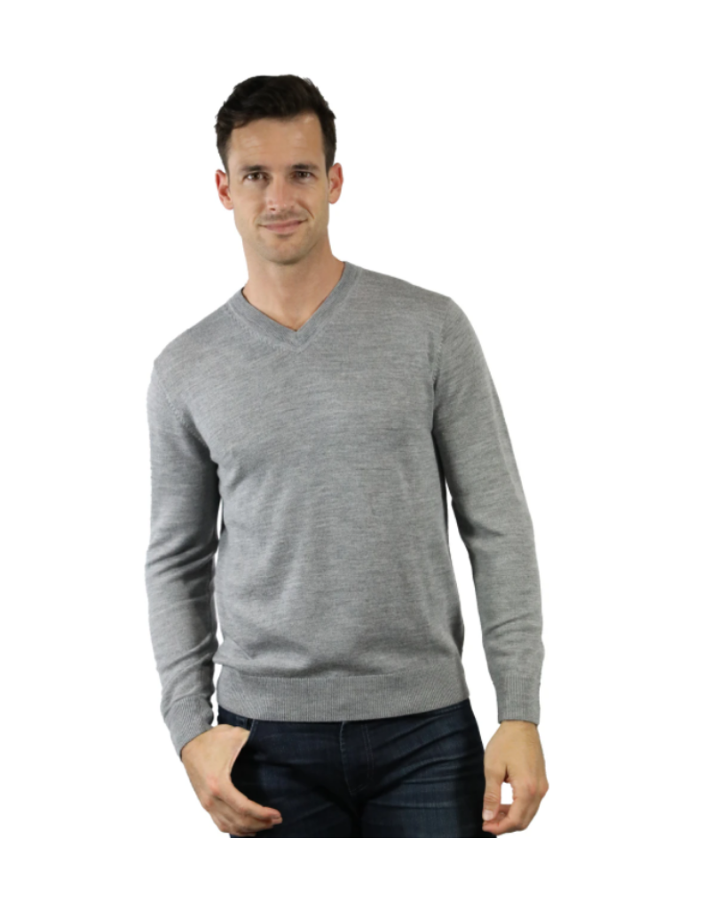 Raffi Merino Wool V Neck - Grey