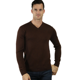 Raffi Merino Wool V Neck - Brown