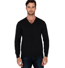 Raffi Merino Wool V Neck - Black