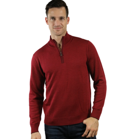 Raffi The Palmer Merino Mock 1/4 Zip - Russett