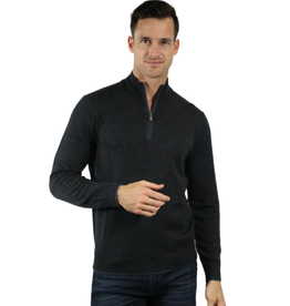 Raffi The Palmer Merino Mock 1/4 Zip - Charcoal