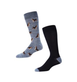 Beagles and Navy Solid Socks 2 pack