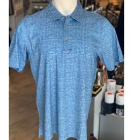 Raffi SS Polo: Azure Dobby Print