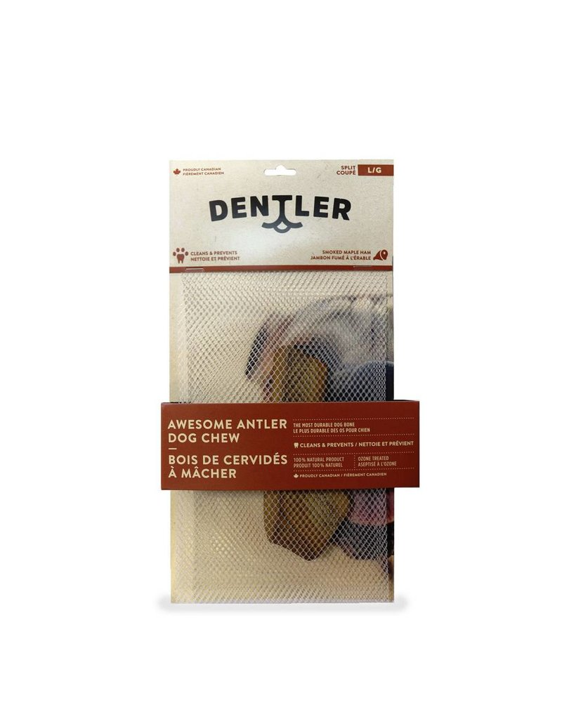 DENTLER Dentler's Split Awesome Antler Dog Chew - Smoked Maple Ham