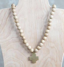 Stone + Stick Cross Pendant Necklace