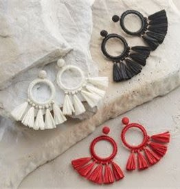 MudPie MudPie Raffia Tassel Earrings