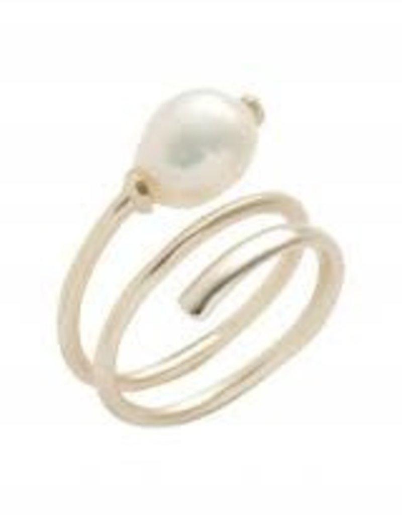 Kendra Scott Kendra Scott ring Jayla Gold Baroque Pearl CZ SM