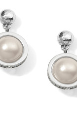 Brighton Brighton Earrings Chara Ellipse Spin Post Drop- Silver/Pearl