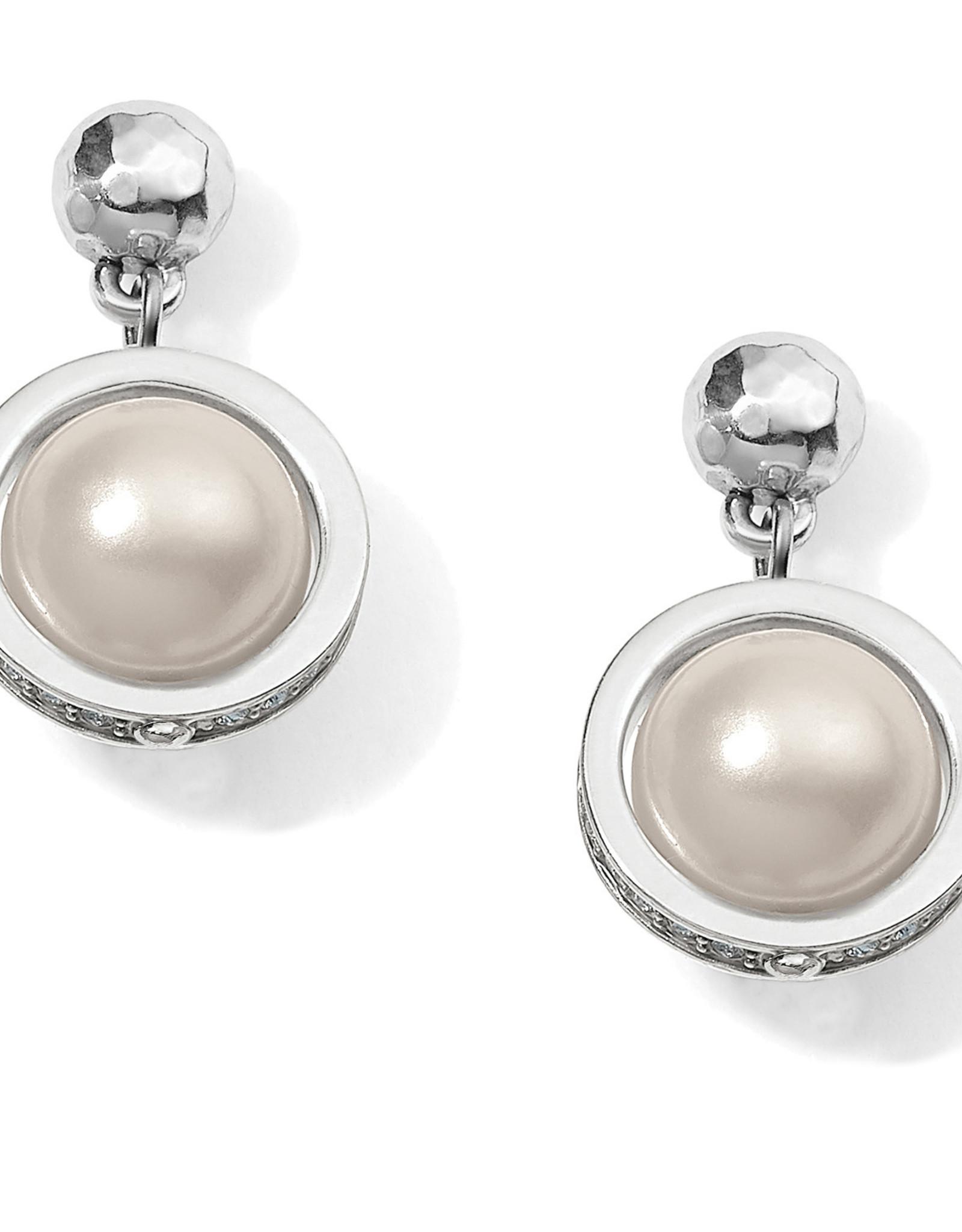 Brighton Brighton Earrings Chara Ellipse Spin Post Drop- Silver/Pearl