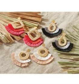 MudPie MudPie Rattan Tassel Earrings