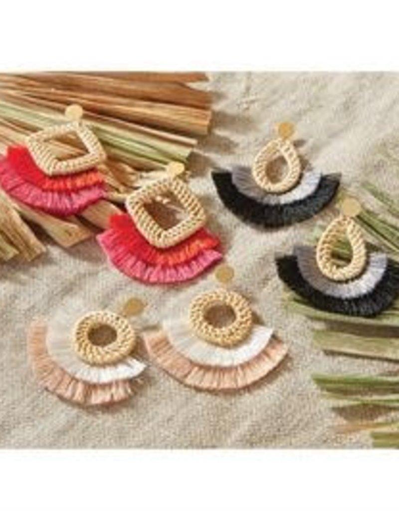 MudPie MudPie Rattan Tassel Earrings