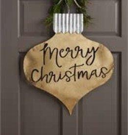 MudPie MudPie Door Hanger- Merry Christmas (Gold)