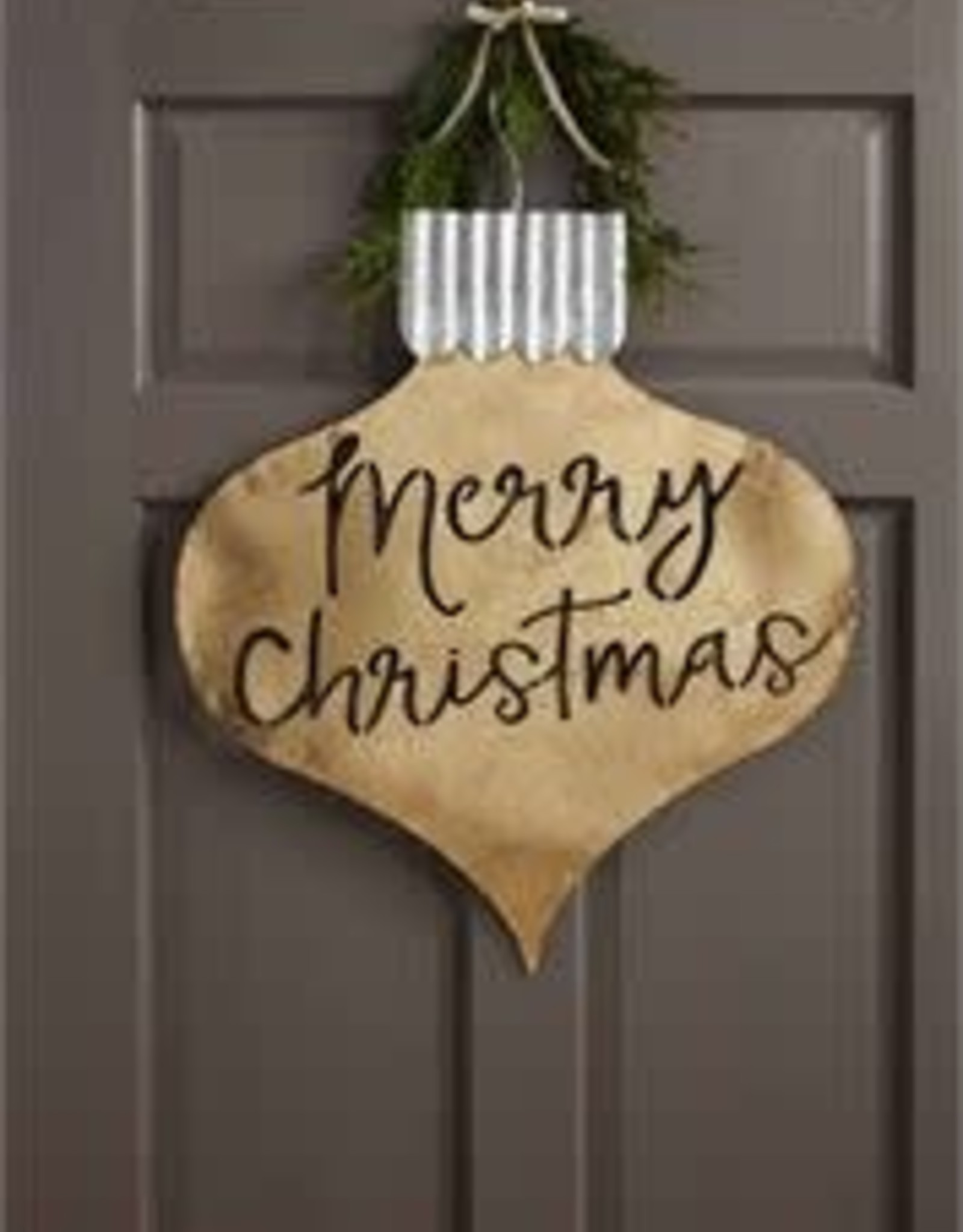 MudPie MudPie Door Hanger- Merry Christmas (Gold)