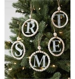MudPie MudPie Beaded Initial Ornament