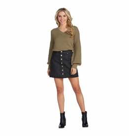 MudPie MudPie Fitz Button Front Skirt