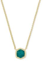 Kendra Scott Kendra Scott Davie Short Pendant Necklace Gold/Dark Teal Amazonite