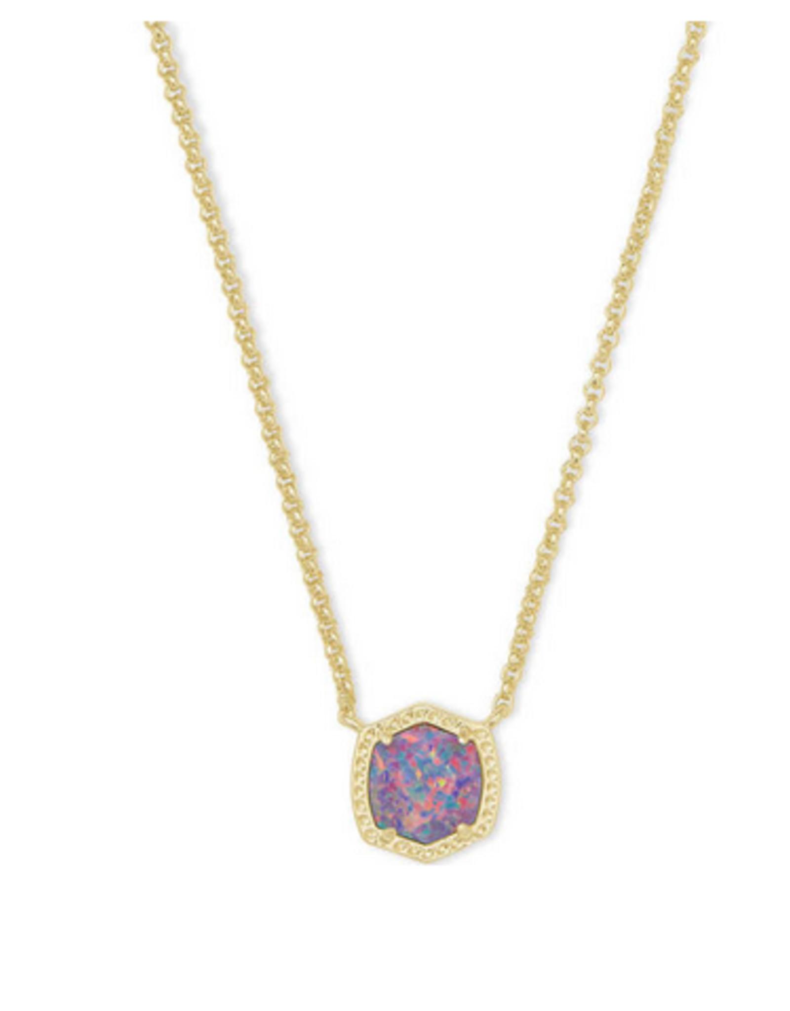 Kendra Scott Kendra Scott Davie Short Pendant Necklace Gold/Lavender Opal