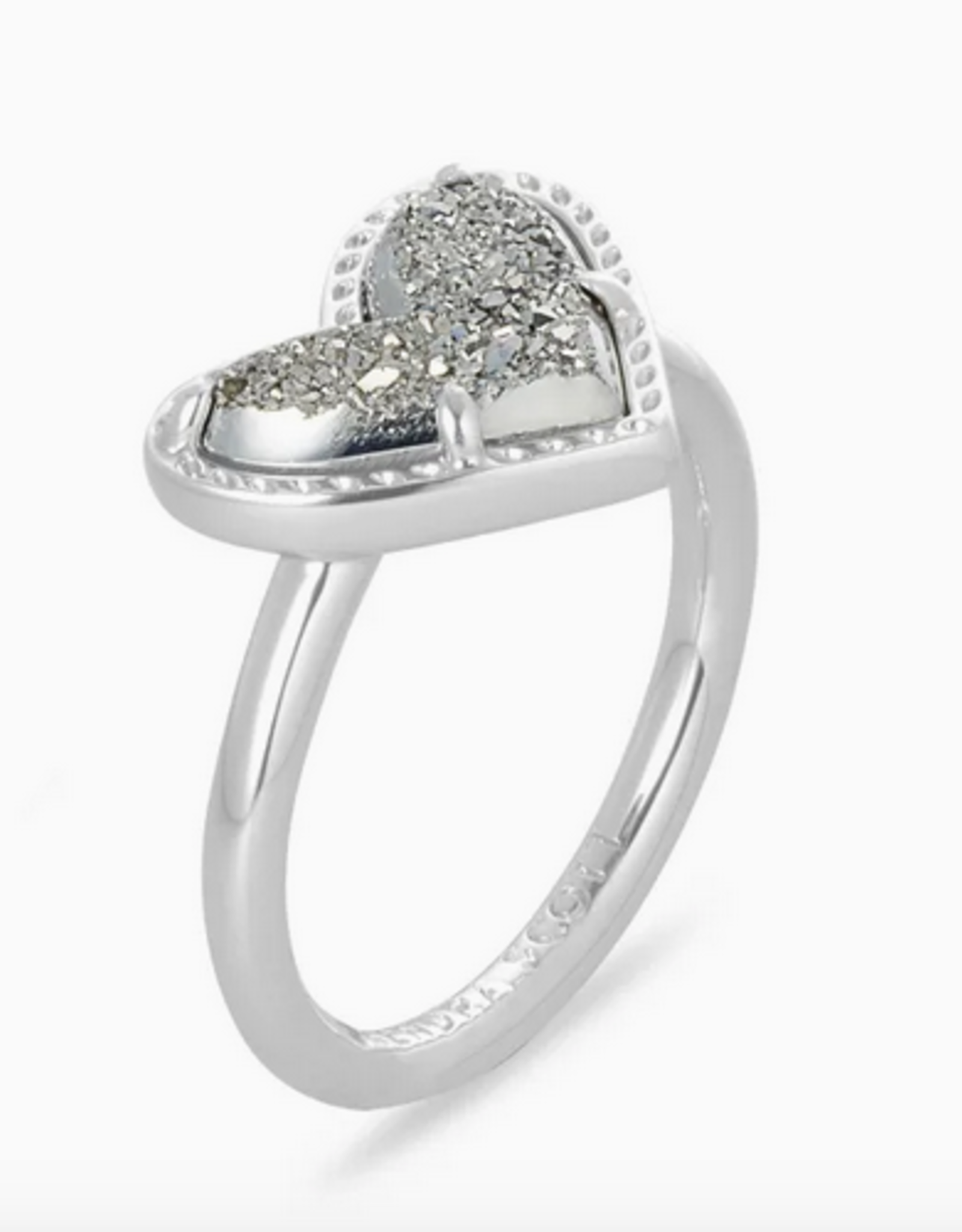 Kendra Scott Kendra Scott Ari Heart Band Ring Rhodium/Platinum Drusy SZ 7