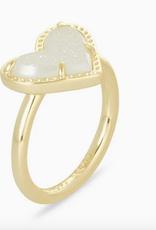 Kendra Scott Kendra Scott Ari Heart Band Ring Gold/Iridescent Drusy SZ 6