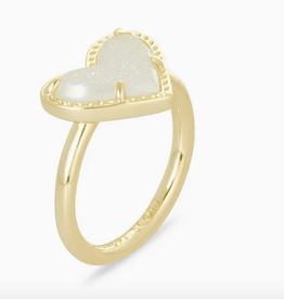 Kendra Scott Kendra Scott Ari Heart Band Ring Gold/Iridescent Drusy SZ 6