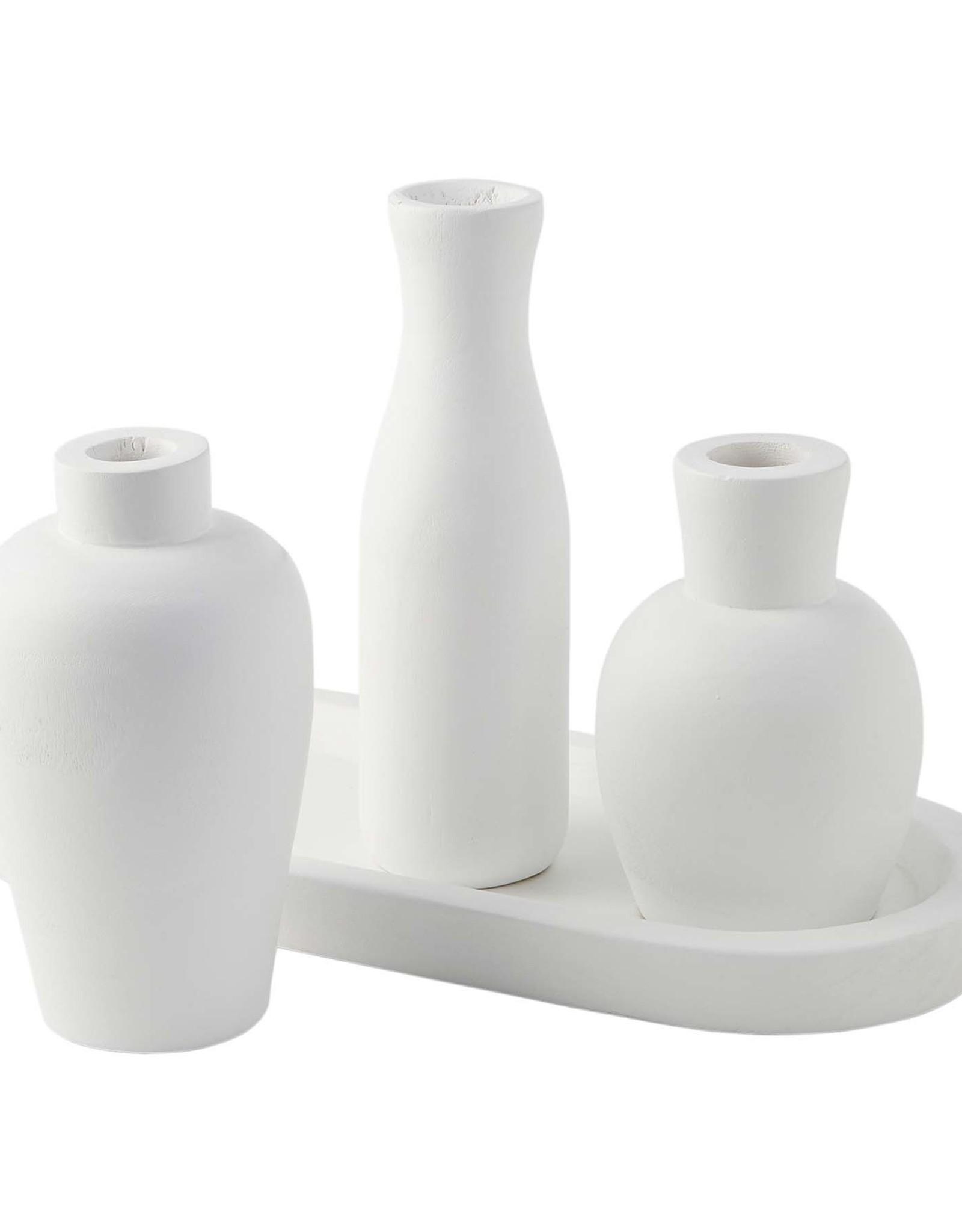 MudPie White Paulownia Tray/Vase Set