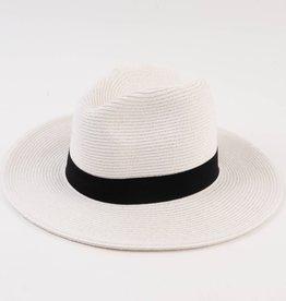 Lucca Couture Amaro Straw Panama Hat- White