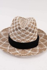 Lucca Couture Santiago Straw Panama Hat- Black/Natural