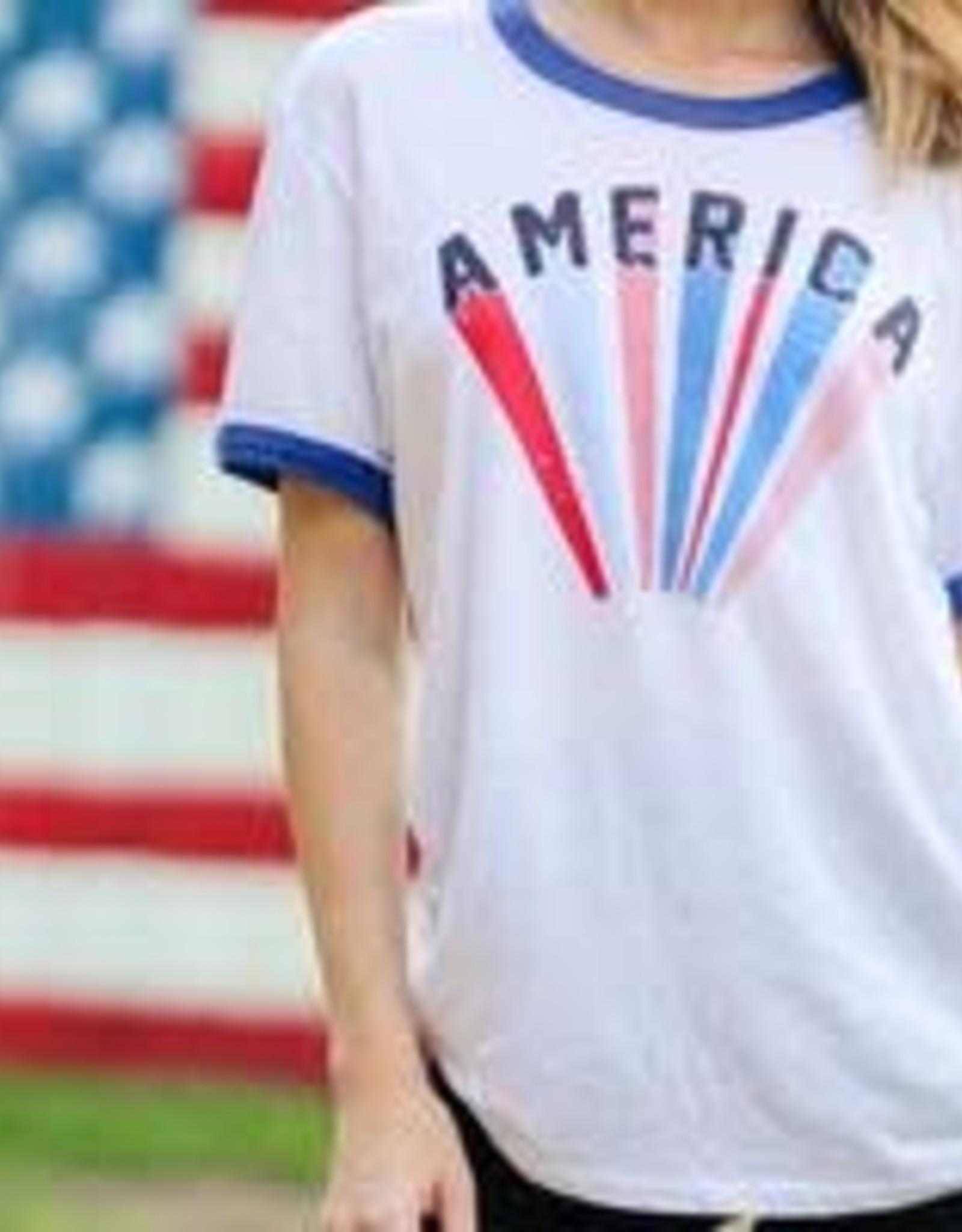 The Light Blonde Ringer Tshirt- America