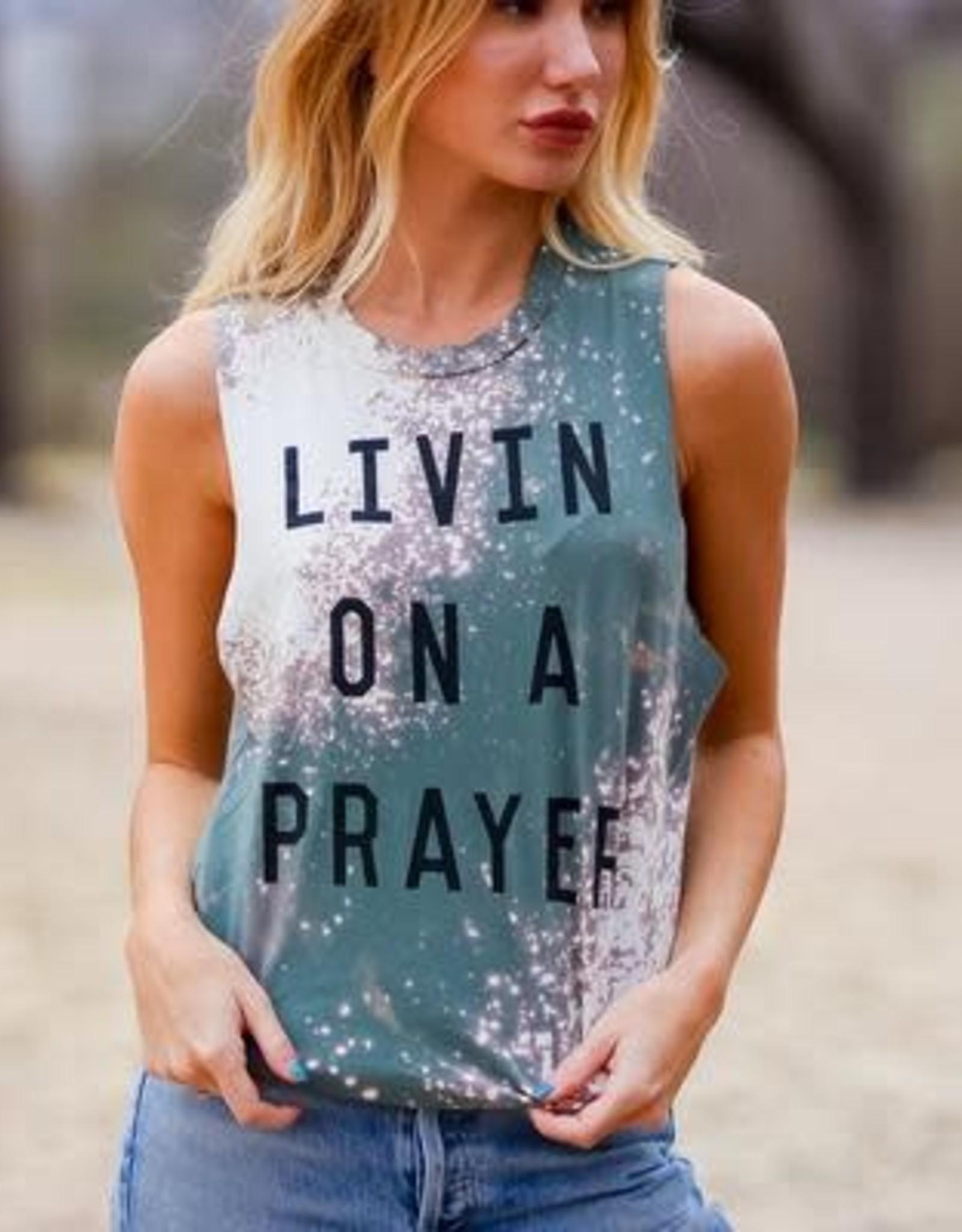 Light Blonde Livin on a Prayer Tank- Bleached