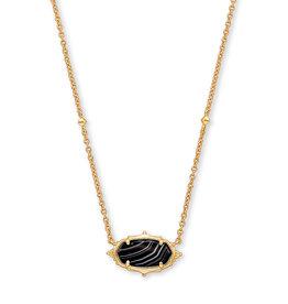 Kendra Scott Kendra Scott Necklace Baroque Elisa Pendant Gold Black Banded Agate