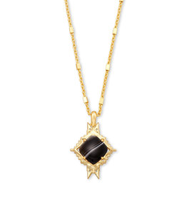 Kendra Scott Necklace Cass Long Pndnt Gold Black Banded Agate