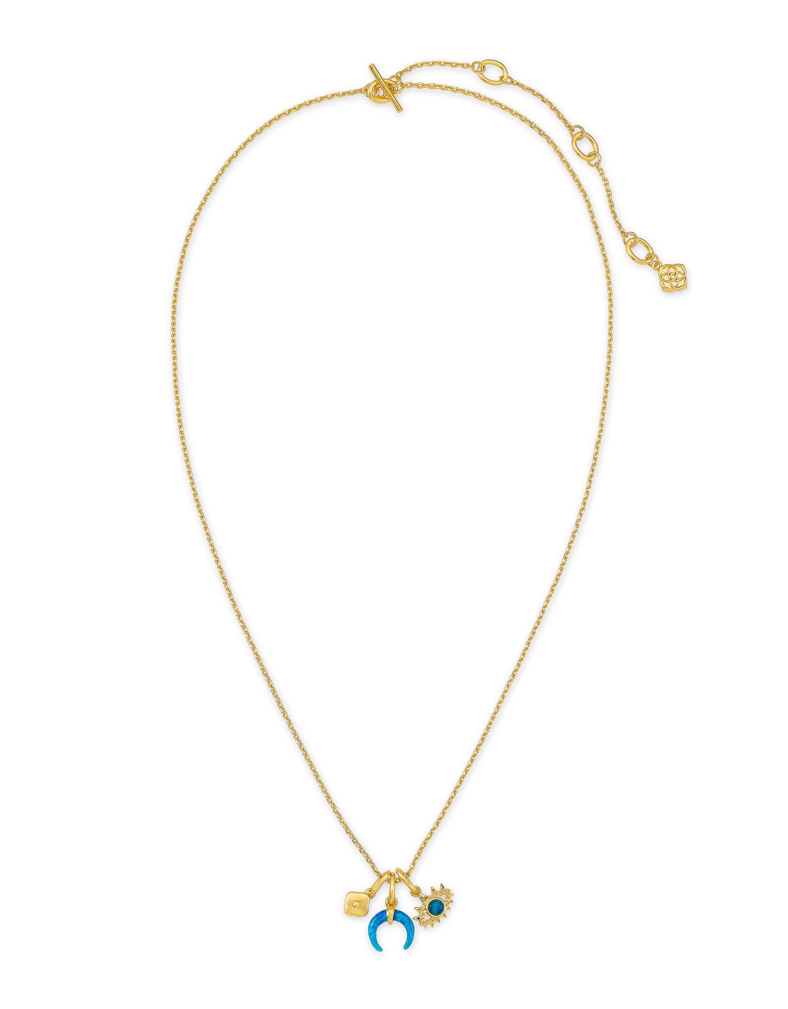 Kendra Scott Kendra Scott Necklace Gemma Charm Set Gold Teal Mix