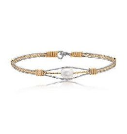 Ronaldo Ronaldo Bracelet-The Guardian Angel-Sterling & 14K Artist Wire with Genuine Pearl