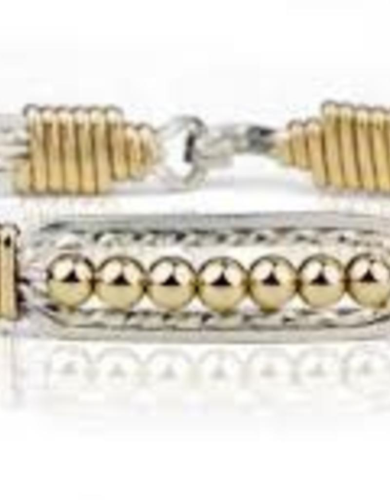 Ronaldo Ronaldo Bracelet-Wide Power of Prayer Gold with gold wraps silver beads