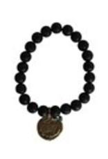 Studio Penny Lane Penny Lane- Breathe Gratitude Bead Bracelet (Lava/Black)