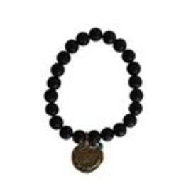 Penny Lane- Breathe Gratitude Bead Bracelet (Lava/Black)