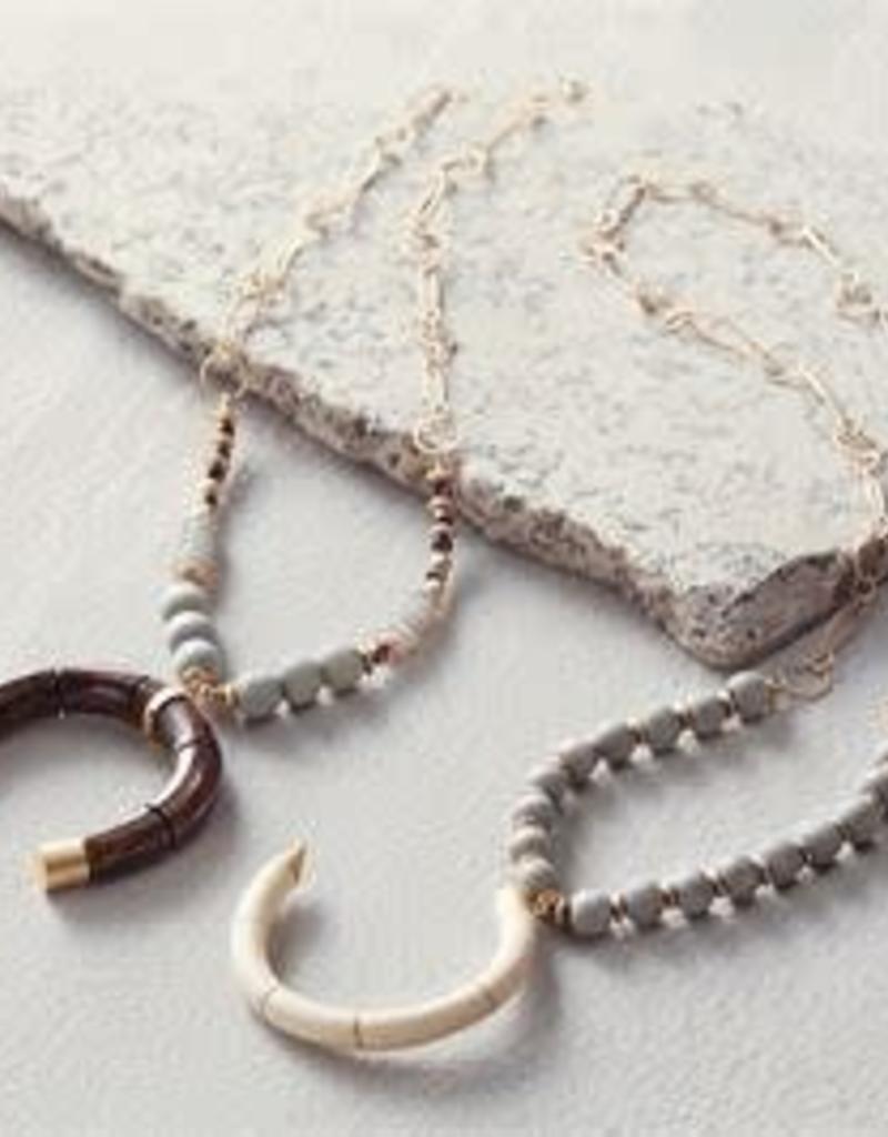 MudPie MudPie Beaded Crescent Necklace