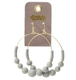MudPie MudPie Wooden Beads Hoop Earring