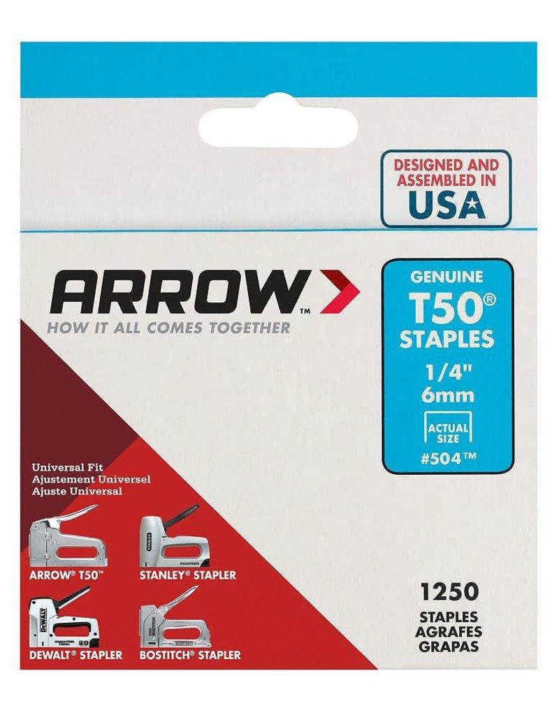 "Arrow T50 1/4"""" Staples - (1250-Pack)"