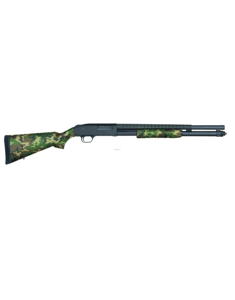 "Mossberg 590 Pump Action Shotgun, 12 Ga, 20"" Bbl, US Woodland Camo, Heatshield, 8+1 Rnd"
