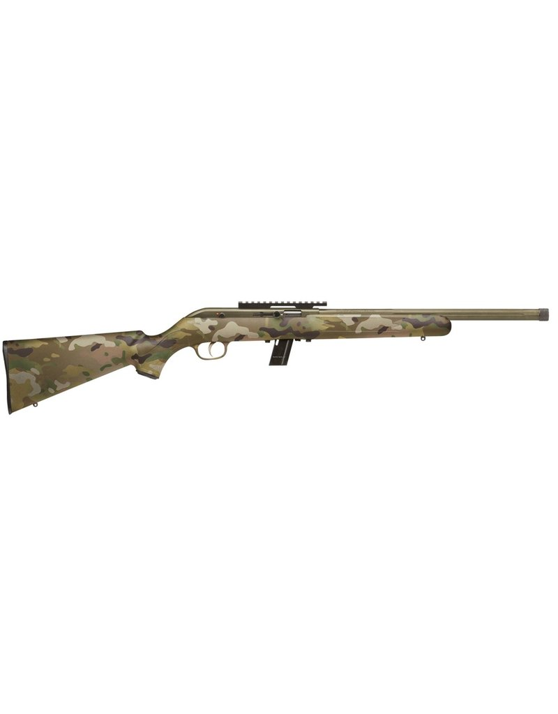 "Savage 64 FV-SR Semi-Auto Rifle, 22 LR, 16.5"" Fluted Bbl, Threaded, Bzooka Green Synthetic Stock, 10+1"