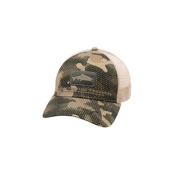 Simms Salmon Icon Trucker Hat, Hex Flo Camo Timber