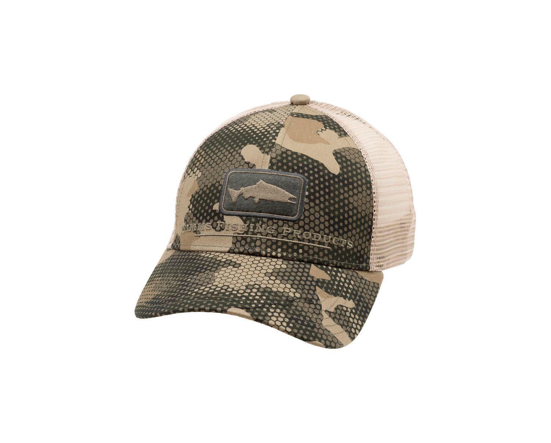 Simms Salmon Icon Trucker Hat, Hex Flo Camo Timber