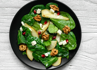 Spicy Pecan & Pear Salad With Cranberry Pear Vinaigrette