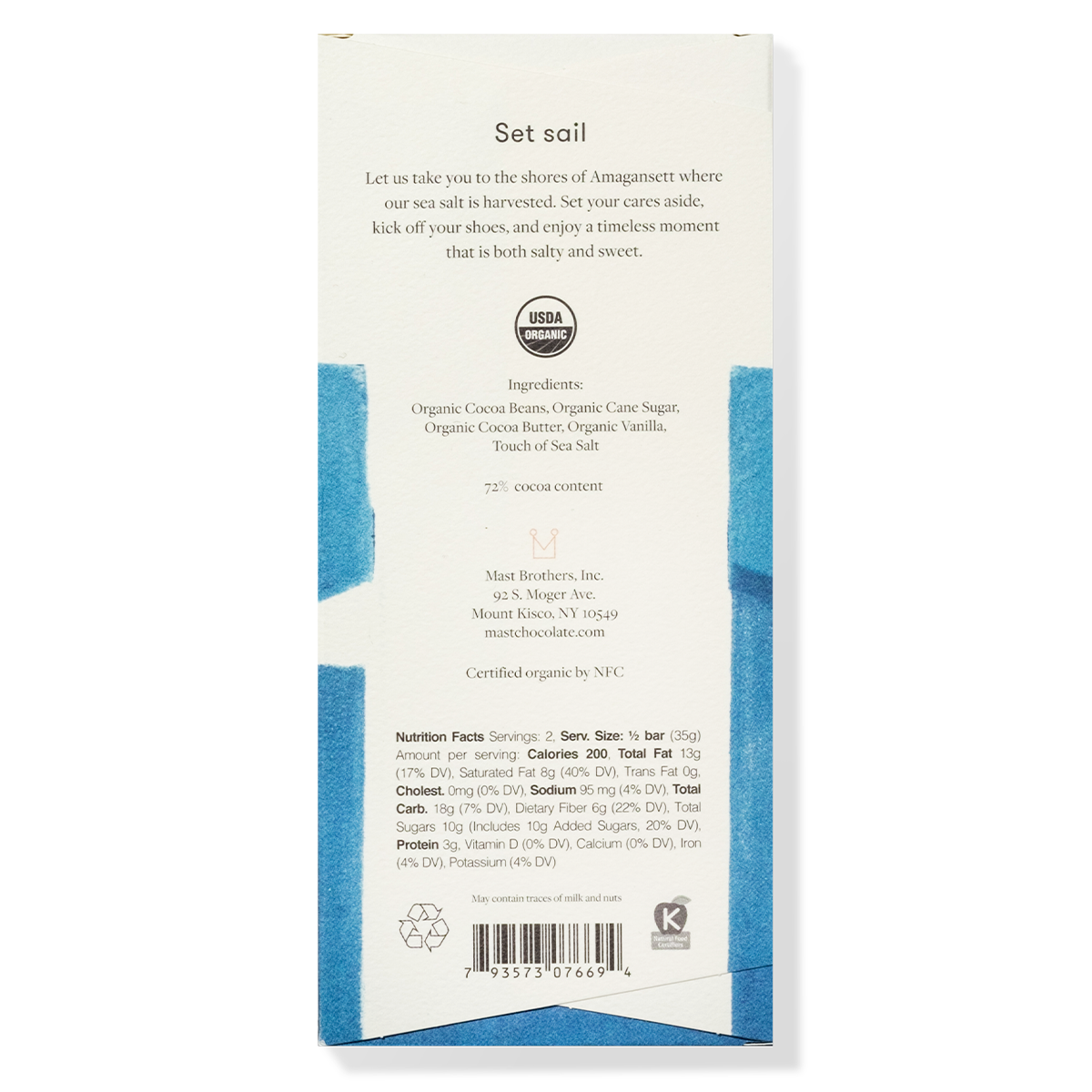 Mast Organic Sea Salt Chocolate Bar