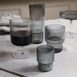 Ferm Living Ripple Glasses (Set of 4) - Smoked Grey