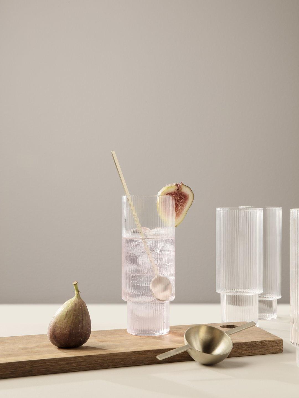 Ferm Living Ripple Long Drink Glasses (Set of 4) - Clear