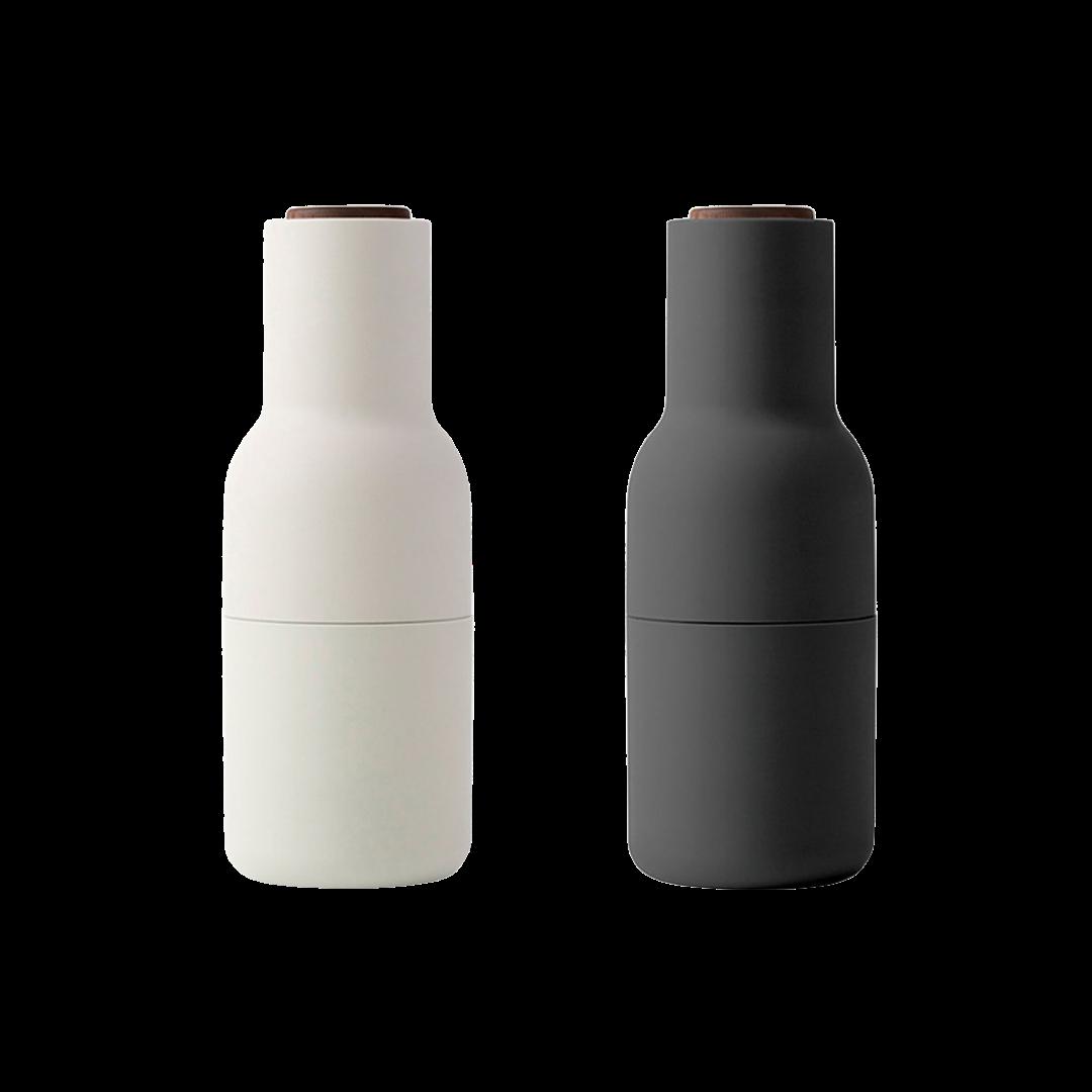 Menu Bottle Grinders - Carbon + Ash with Walnut Lid