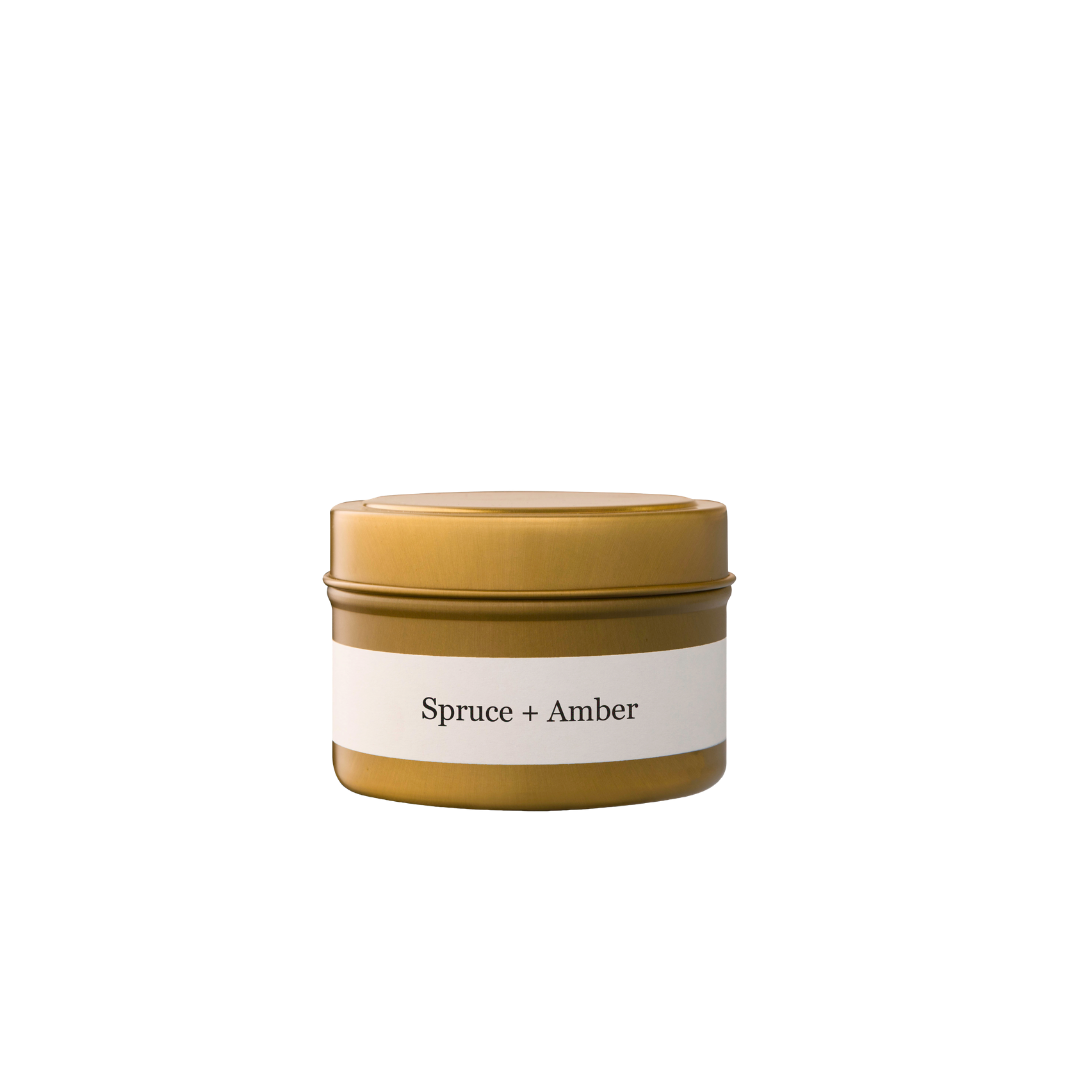 Brand + Iron Spruce + Amber Travel Tin Candle